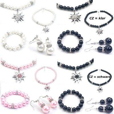 Trachtenschmuck Schmuck-Set 3 tlg. Perlen Kette mit Edelweiß Armband & Ohrringe (Trachten Perlen Schmuck)