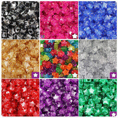 BeadTin Sparkle 13mm Star Pony Beads (250pcs) - Color choice](Plastic Star Beads)