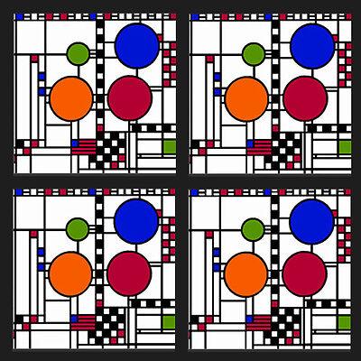 Frank Lloyd Wright Coasters - Frank Lloyd Wright Coonley Playhouse Coasters Set of 4 - WUSQ96
