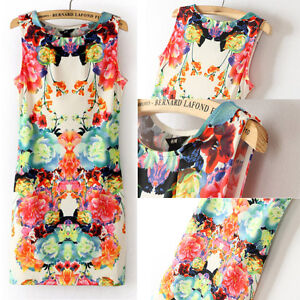 FASHION-Retro-Flower-Print-Sexy-Womens-Sleeveless-Slim-Chiffon-Dress-Mini-HOT
