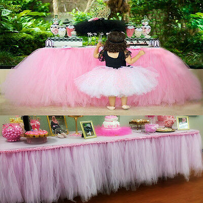 Cute Girls Tulle Tutu Table Skirt Wedding Party Xmas Baby shower Decor Pink US - Pink Tutu Table Skirt
