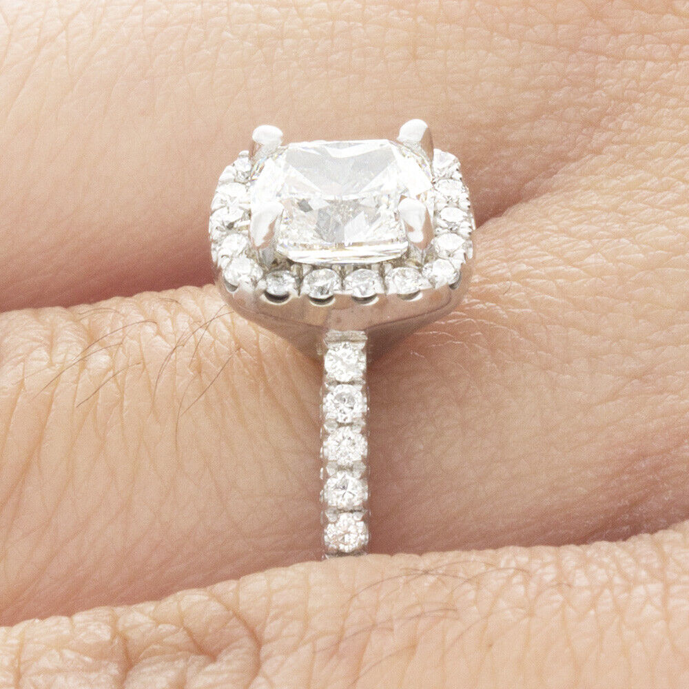 GIA Certified Cushion Cut Diamond Engagement Ring 1.77 carat 18k White Gold 3
