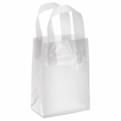 "- Plastic Shopping Bags 25 Clear Frosty 5"" x 3"" x 7"" Gift Bag Merchandise Frosted"