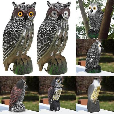 Large Realistic Owl Decoy Head Rotate Weed Pest Control Crow Plastic Scarecrow