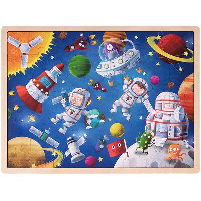Ollie & Mr. Noodle Adventuring Astronauts 48-piece Wooden Inset Jigsaw -