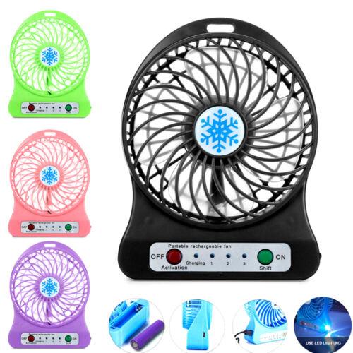 Portable Rechargeable LED Light USB Mini Desk Fan Air Cooler
