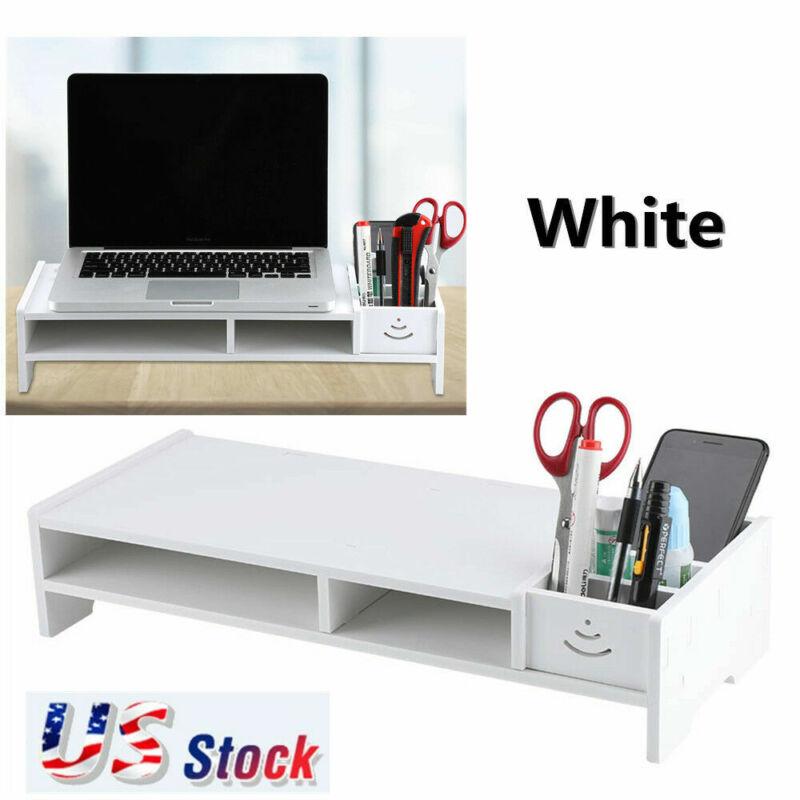 Computer Monitor Riser Shelf LCD TV Screen Wood Stand Shelves Desk Home/Office