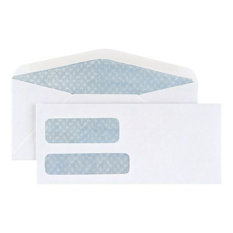 Staples #10 Envelope Double Window Security-Tint Gummed Envelopes 500/Box 892095
