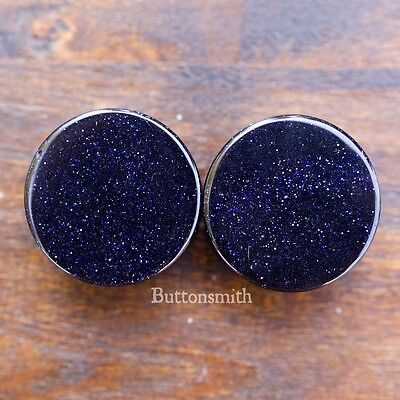 Goldstone Plugs - Pair of Blue Goldstone - Sandstone Stone Plugs Double Flared 3mm - 25mm 13 sizes