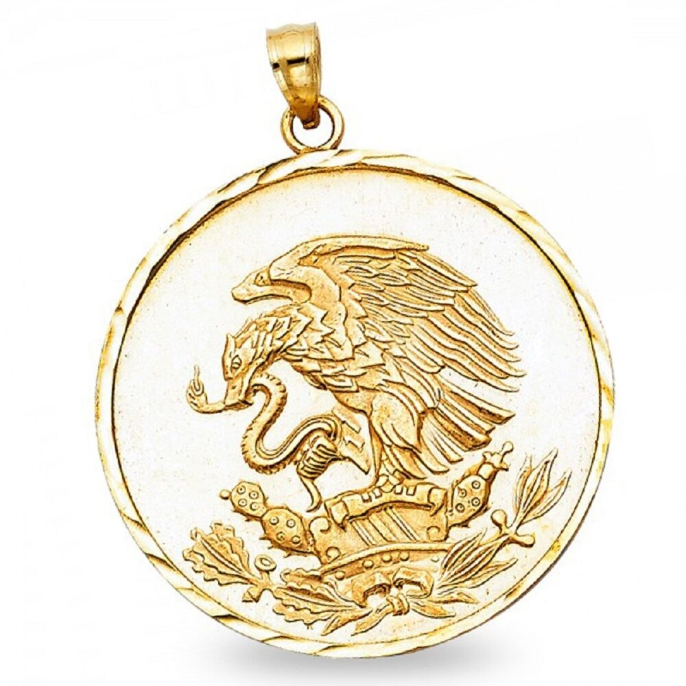 Eagle & Snake Coin Pendant Solid 14k Yellow Gold Medallion ...