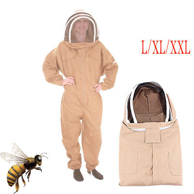 Lxlxxl Cotton Full Body Beekeeping Bee Keeping Suit Wveil Hood Safe Use