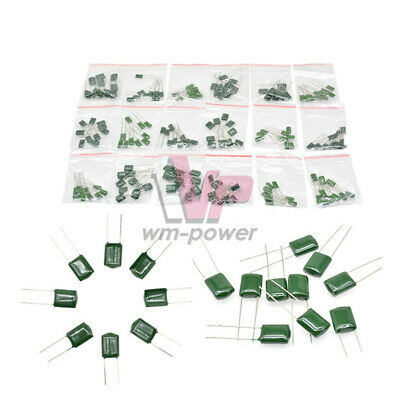 180pcs 63-630v 18values Polyester Film Capacitor Assortment Electrolytic Kits