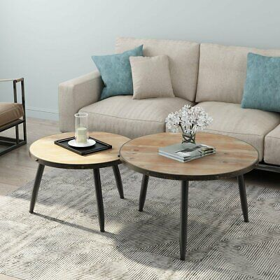 Industrial Nesting Coffee Table Set of 2 Home Living Room Round End Side Table
