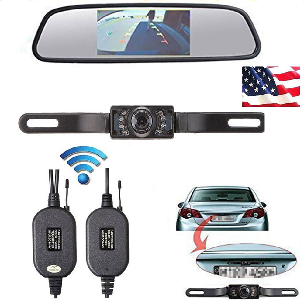 4 3\ Car TFT LCD Mirror Monitor Wireless Reverse Car Rear View Backup Camera Kit