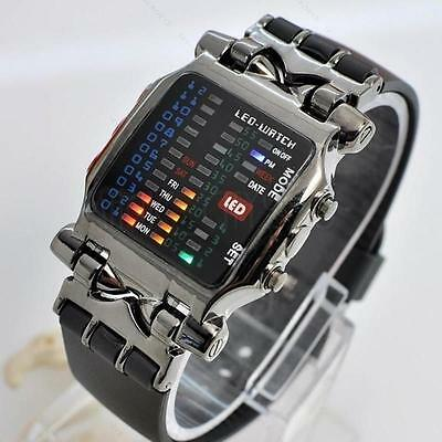 New Led binary watch Date Time Mens #S Fashion Casual Sport Wrist watches