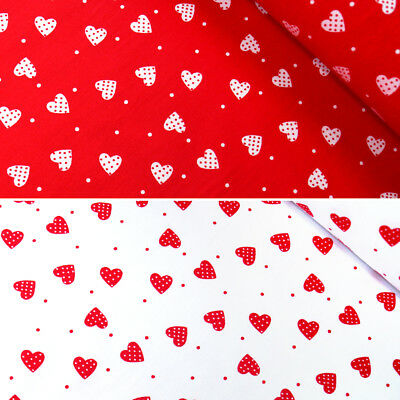 100% Cotton Poplin Fabric Rose & Hubble Pin Spots Hearts And Polka Dot Spots