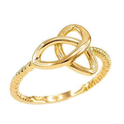 14k Yellow Gold Ladies Woman`s Celtic Irish Trinity Triquetra knot Rope Ring
