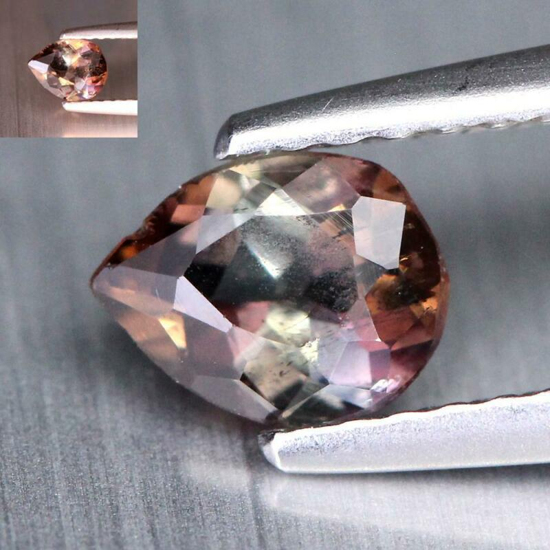 Certificate Included 0.44Cts Natural Color Change Axinite Pear Rare Gemstone
