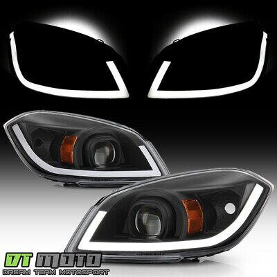 NEW 2005-2010 Chevy Cobalt 07-10 Pontiac G5 Black LED Tube Projector Headlights