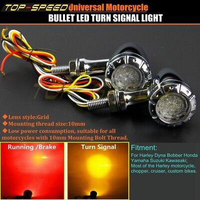 Universal Motorcycle Chrome Bullet LED Turn Signal Indicator Running Brake Light
