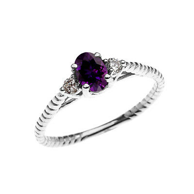 Dainty Amethyst Solitaire Rope Design Engagement /Promise Ring in White Gold