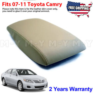 Fits 2007-2011 Toyota Camry Leather Center Console Lid Armrest Cover Tan Beige