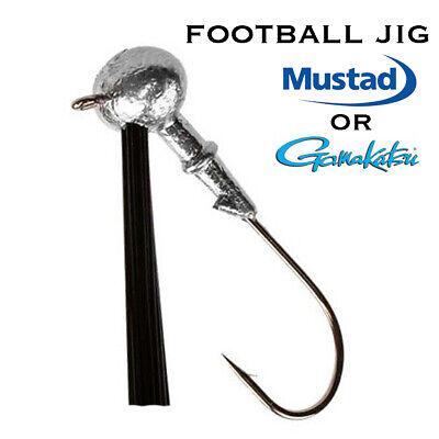 Fishing Football Bass Jig Mustad Gamakatsu Lure Bait Fish Weedless 5 or 10 (Mustad Jig Bait)