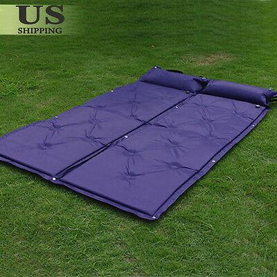 2 Outdoor Camping Self-Inflating Air Mat Mattress Pad Pillow Hiking Sleeping Bed