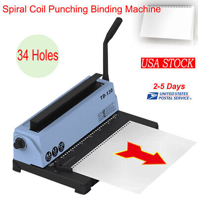 Manual 34 Holes Spiral Coil Calendar Binding Machine Punching Binding Tool New