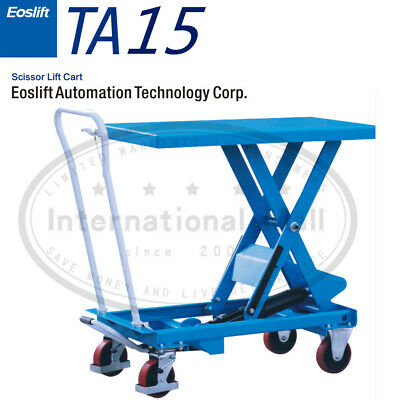 Eoslift Ta15 Hydraulic Manual Scissor Lift Table Carts 17.7 X 27.6 330 Lbs Cap.