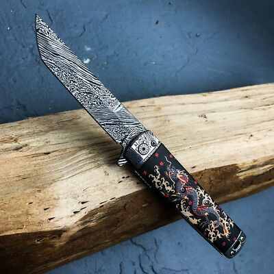 "8"" Spring Assisted Open Folding Pocket Knife Katana Tanto Japanese Damascus New"