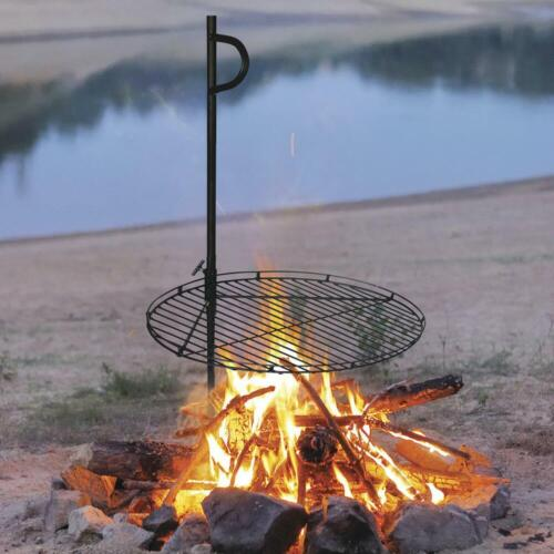 """46"""" Portable Swing Away Wood Fire Cooking Grill Grate Campfire Pit Camp Stake"""