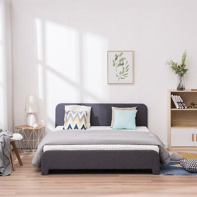 New 3 Size Platform Bed Frame Upholstered Gray Linen Headboa