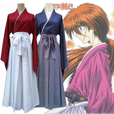 Rurouni Kenshin Himura Cosplay Costume Kendo Hakama Kimono Japanese Mens Suit (Kenshin Himura Cosplay Kostüm)