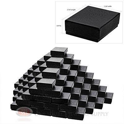 "(100) Swirl Black 2 1/8"" X 1 5/8"" Cotton Filled Jewelry Gift Boxes Bracelet"