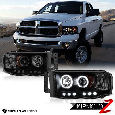 LIMITED [SINISTER BLACK] 2002-2005 Dodge Ram 1500 2500 3500 CCFL Halo Headlights