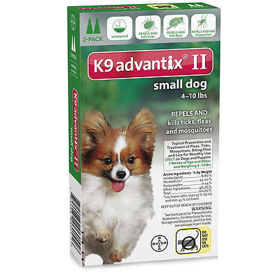 K9 Advantix II for Small Dogs 4-10 lbs, 2 Month Supply, used for sale  Great Neck