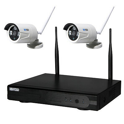 4-KANAL WLAN HD Komplettset Überwachungsset Videoüberwachung FUNK IP Kamera HDMI