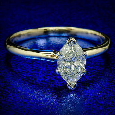 1.11 ct MARQUISE NATURAL DIAMOND ENGAGEMENT PROMISE WEDDING RING 14K YELLOW GOLD