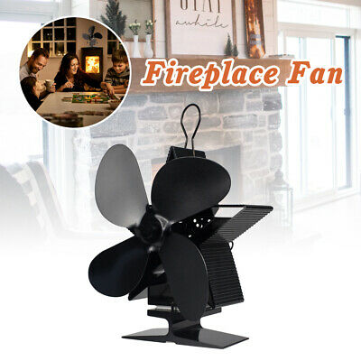 4 Blades Wood Stove Fan Heat Powered Eco Fireplace Fan Log Burner Fuel Saving US
