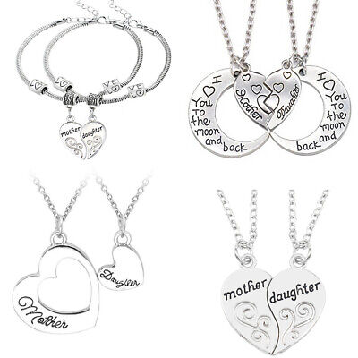 Silver Heart Necklace Gifts For Her Mother Daughter Chains Women Mom Girl Family ()