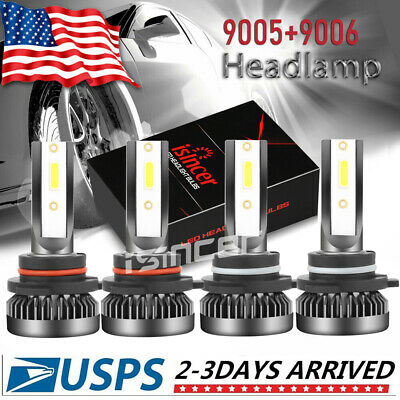 ISINCER 9005+9006 Combo LED Headlight Kits 120W High/Low Beam Bulbs 6000K White