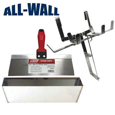 Drywall Mud Pantape Holder Set With 12 Stainless Steel Pan And Taping Knife