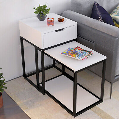 2Pcs Nested Table Side End Coffee Occasional Corner Table W/ Drawer Storage Unit