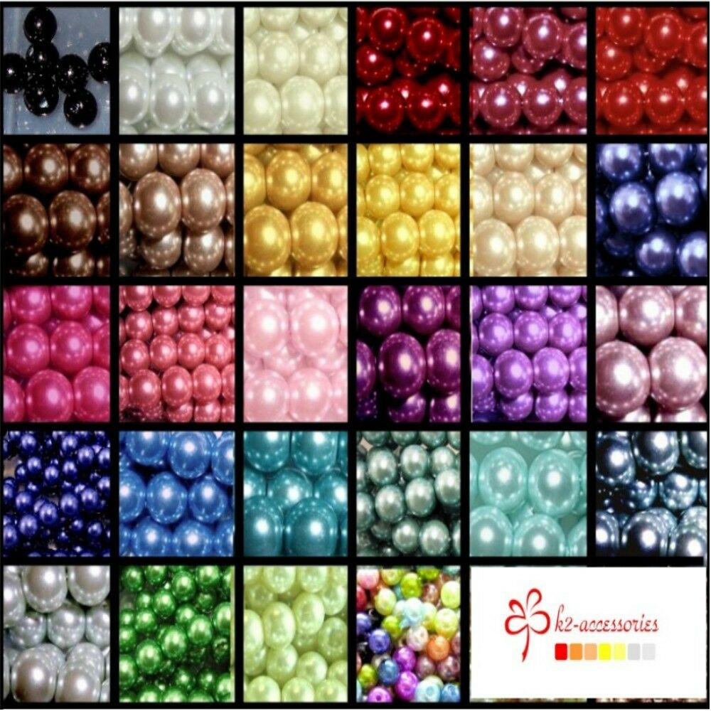 400x 4mm / 200x 6mm / 100x 8mm / 50x 10mm Glass Pearl Beads 30 Various Colour
