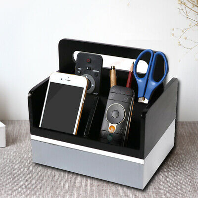 Caddy Desk Organizers Wooden 4 Compartments Media Tabletop Remote Control Holder