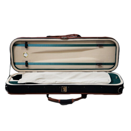 New Violin 4/4 Full Size Oblong Case Lightweight Black/Khaki