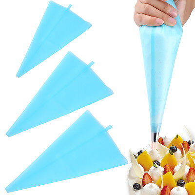 Silicone Reusable Icing Piping Bags Cake Decoration Pastry Bag Tips 3 Sizes