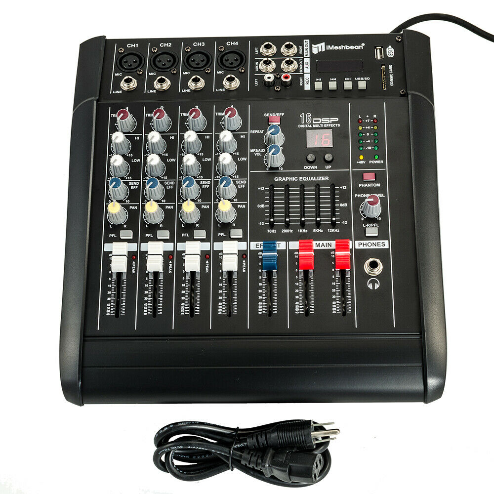 4 Channel Professional Powered Mixer power mixing Amplifier