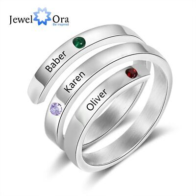 Personalized Engraved Ring Birthstone Family Name Stainless Steel Jewelry Gift Family Name Ring